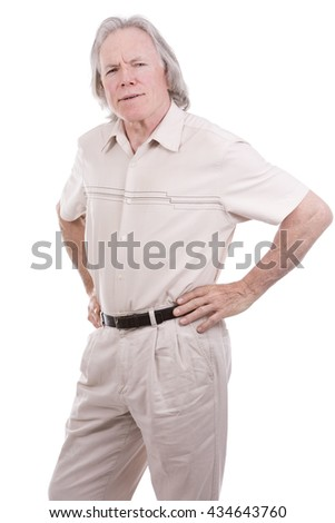 senior caucasian causual posing on white isolated background