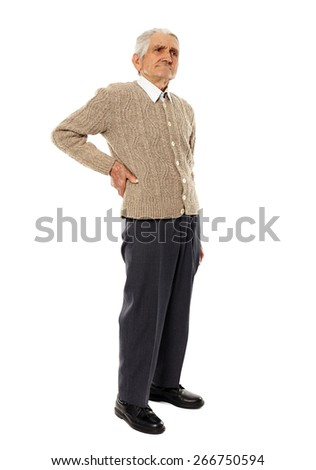 Senior caucasian man with a pain in the lower back - stock photo