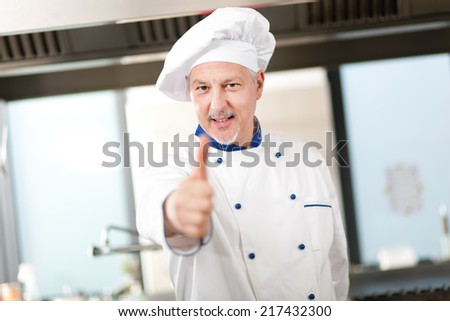 Senior chef showing thumbs up