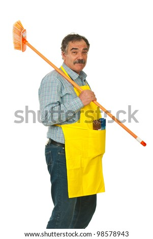 Senior cleaning man carrying broom isolated on white background