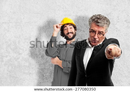senior cool man angry boss pointing - stock photo