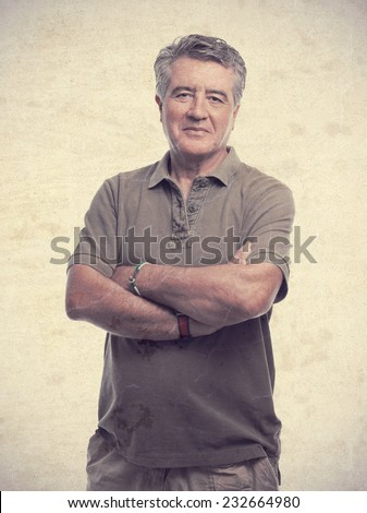 senior cool man arms crossed - stock photo