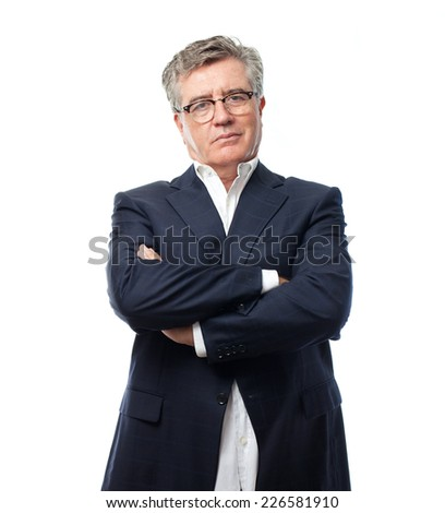 senior cool man arms crossing - stock photo