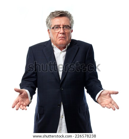 senior cool man confused sign - stock photo