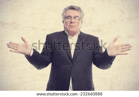 senior cool man confusion sign - stock photo
