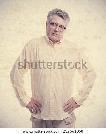 senior cool man disagree pose - stock photo