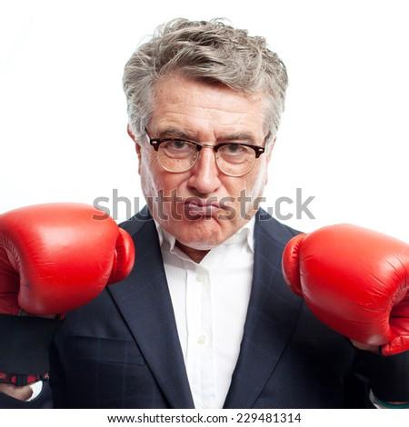 senior cool man fighting - stock photo