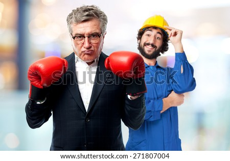 senior cool man fighting - stock photo