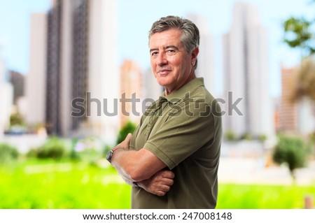 senior cool man happy  - stock photo