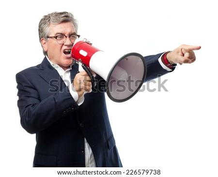 senior cool man ordering sign - stock photo