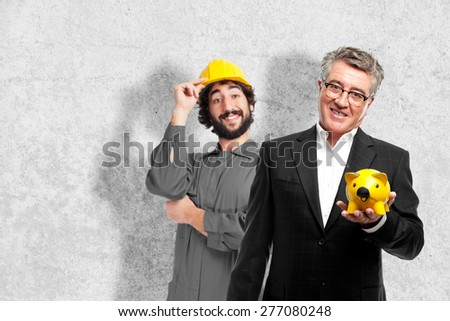 senior cool man saving concetp - stock photo