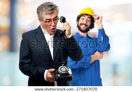 senior cool man shouting on phone - stock photo