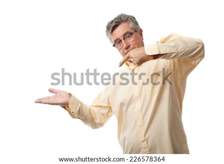senior cool man show sign - stock photo