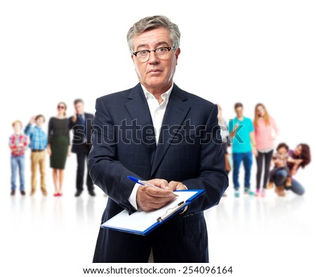 senior cool man showing a test - stock photo
