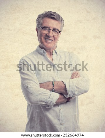 senior cool man smiling - stock photo