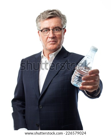 senior cool man with a bottle of water - stock photo