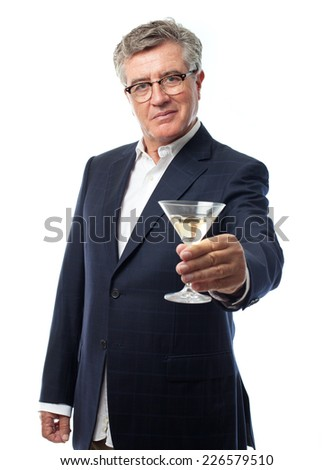 senior cool man with a drink cup - stock photo