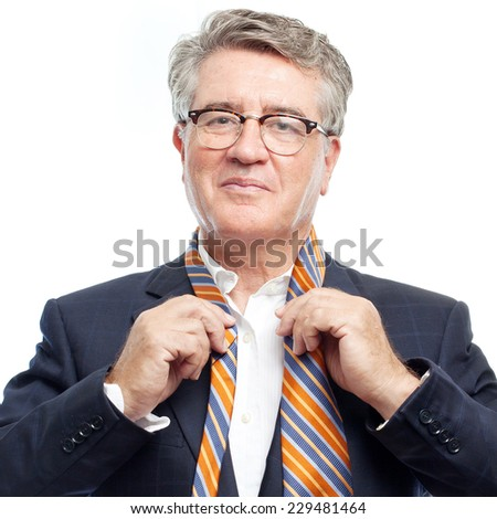 senior cool man with a necktie - stock photo
