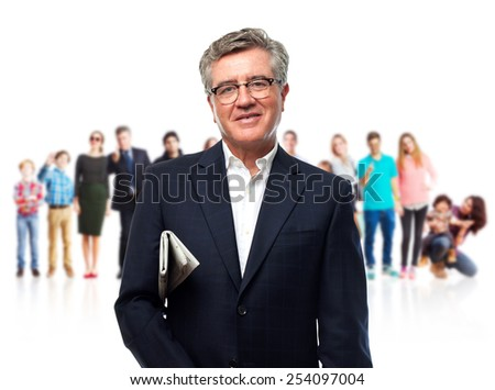 senior cool man with a newspaper - stock photo