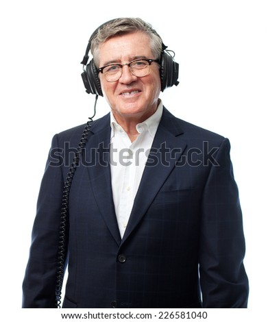 senior cool man with headphones - stock photo
