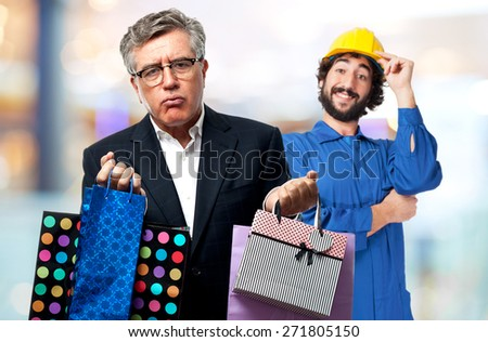 senior cool man with shopping bags - stock photo