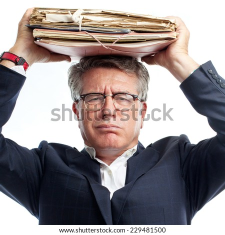 senior cool man with to many work - stock photo