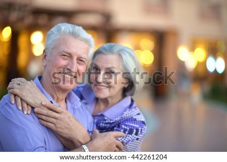Senior couple at evening - stock photo