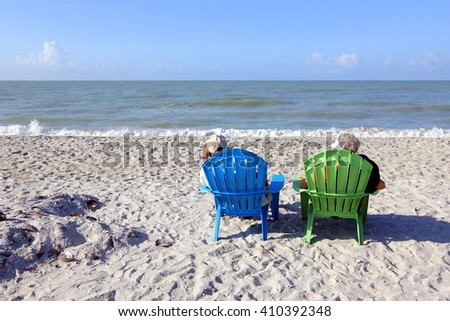 Senior Couple at the Beach - stock photo