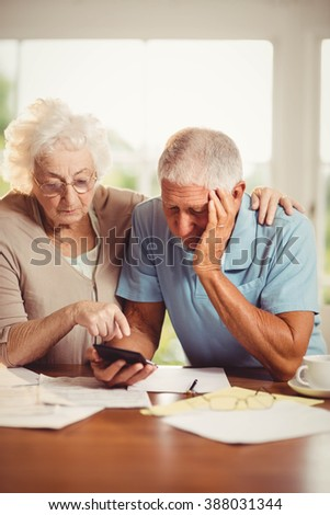 Senior couple counting bills at home - stock photo