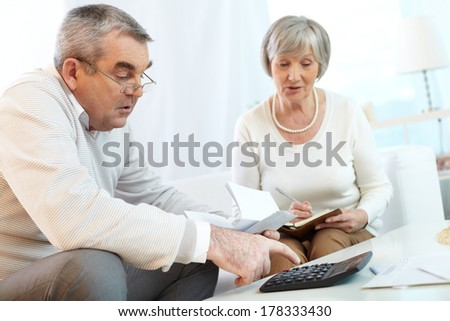 Senior couple counting their expenses  - stock photo