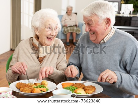 Senior Couple Enjoying Meal Together - stock photo