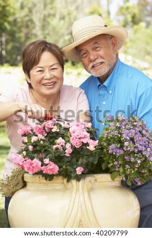 Senior Couple Gardening Together - stock photo