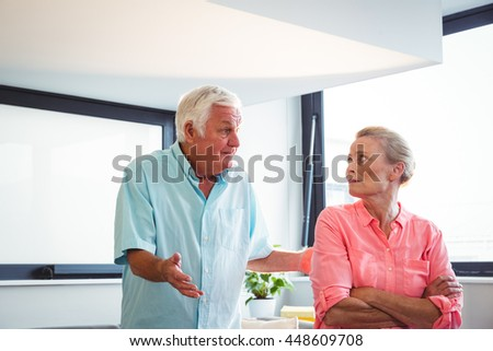 Senior couple having an argument in a retirement home - stock photo