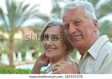Senior couple having fun at the resort during vacation