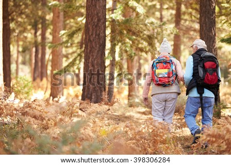 Senior couple hiking in a forest, back view, California, USA - stock photo