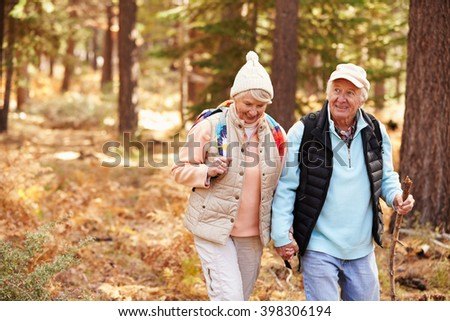 Senior couple hold hands hiking in a forest, California, USA - stock photo