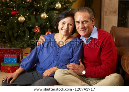 Senior Couple In Front Of Christmas Tree