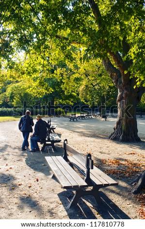 Senior couple in the public park - stock photo