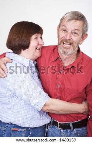 Senior couple 1, laughing - stock photo