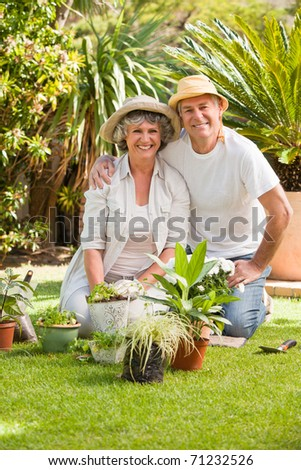 Senior couple looking at the camera in the garden - stock photo