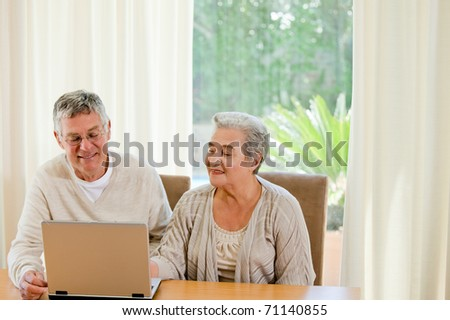 Senior couple looking at their laptop at home - stock photo