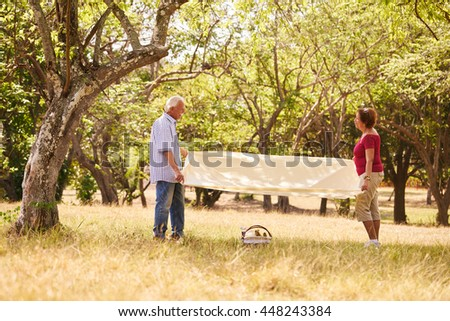 Senior couple, old man and woman in park on weekend activity. Grandpa and grandma doing picnic in wood - stock photo