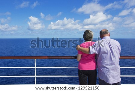 Senior Couple on a ocean cruise - stock photo