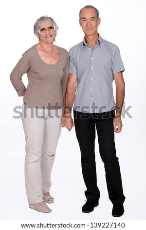 Senior couple on a white background