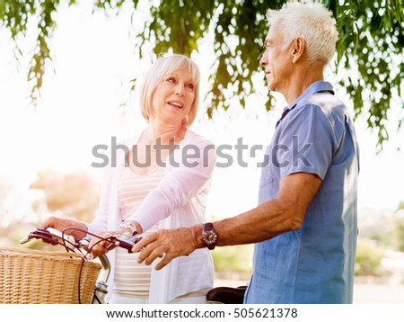 Senior couple relaxing in park