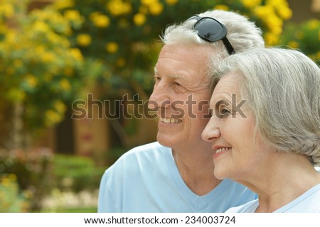 Senior couple resting on the resort during vacation - stock photo