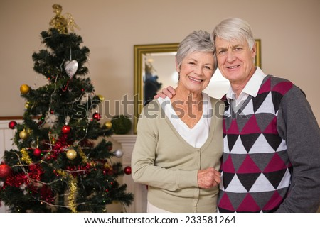 Senior couple smiling beside their christmas tree at home in the living room - stock photo
