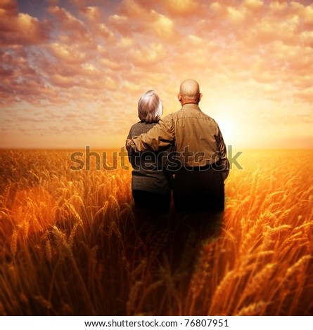 Senior couple standing in a wheat field at sunset - stock photo