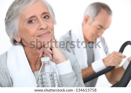 senior couple training - stock photo