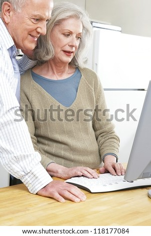 Senior couple using a computer both smiling and looking at the screen - stock photo